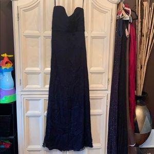 Amsale size 4 navy chiffon gown